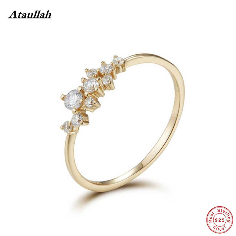 c2b4ab21d50ea Ataullah 14K Yellow Gold 925 Silver Engagement Ring Band lab Diamond  Solitaire Wedding for Women Simple Jewelry Rings RWD893