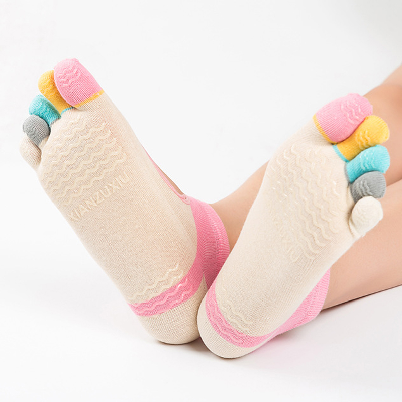 JLZLSHONGLEWomen Backless Fitness Socks Non-slip Physical Five Finger Socks Female Professional Anti-skid Five Toe Pilates Sock