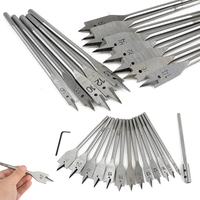 DWZ Silver 15Pcs 6 25mm Full Steel Hex Shank Spade Flat Wood Drill Bit Set Tool