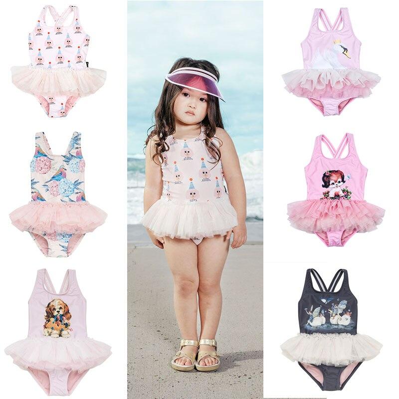 Australia Baby Girls Brand Swimwear Kids Cute Tutu Swimsuits Animal print Hawaii Swimming Wear Children Girl Beach Clothing Dog