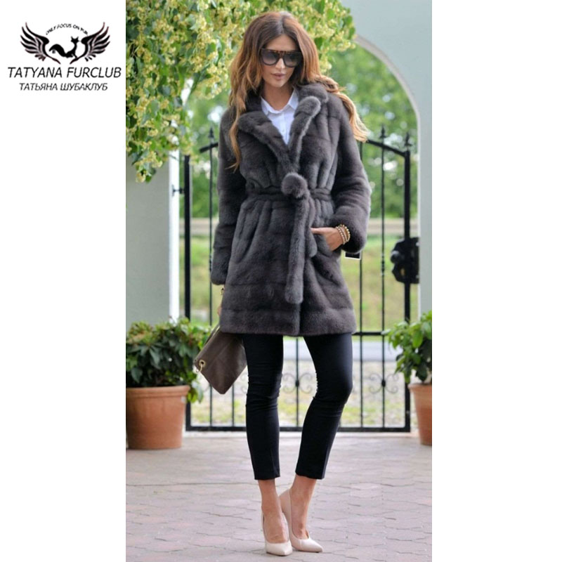 Tatyana 2019 Real Mink Fur Coats Women With Belt Gray Real Fur Coat Fashion Winter Clothes Fur Jackets Plus Size Can Customized
