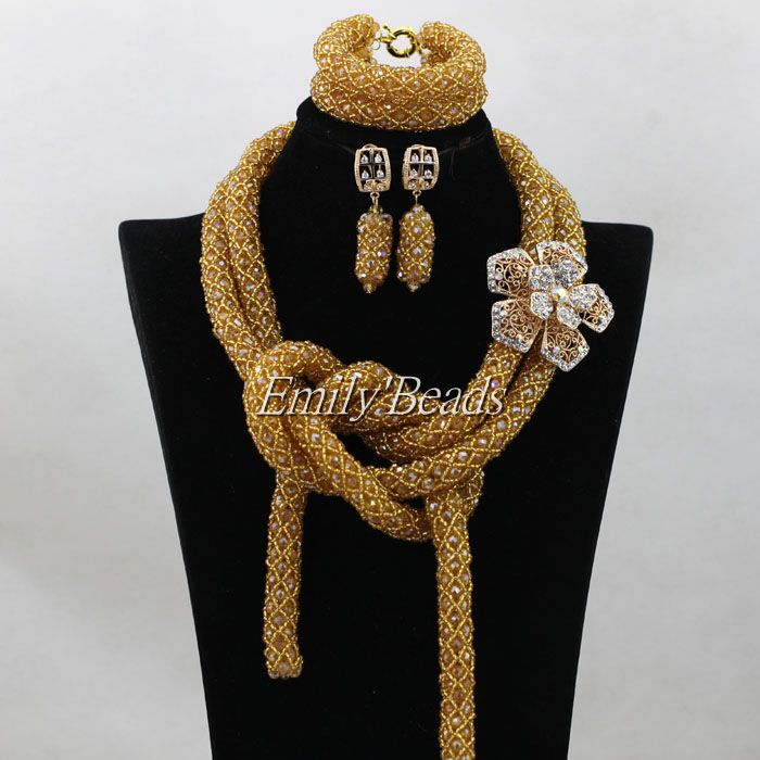 ⓪Champagne Gold African Wedding Crystal Nigerian Beads Necklaces ...