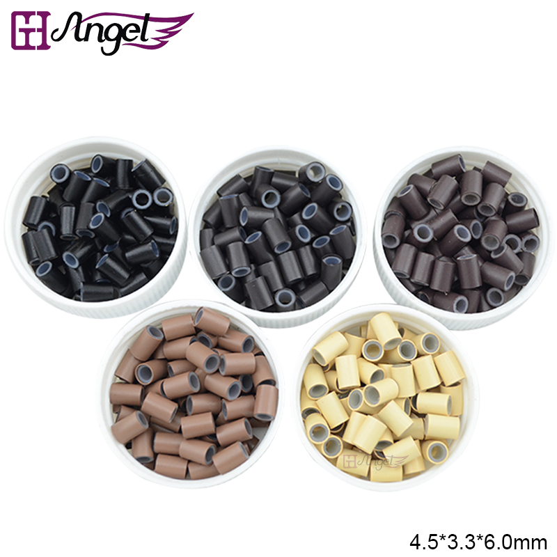 Wholesale 25000pcs 50bottles 4 5 3 3 6mm Silicone Copper Micro Rings Links Tubes for Loop