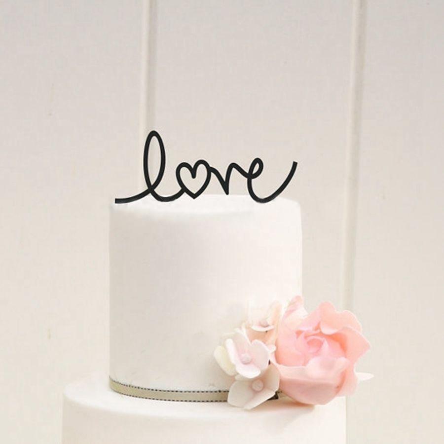 svatební dort výzdoba - LOVE se srdcem Svatební dort Topper, akryl Personalizované Design Svatební Party dekorace dort příslušenství