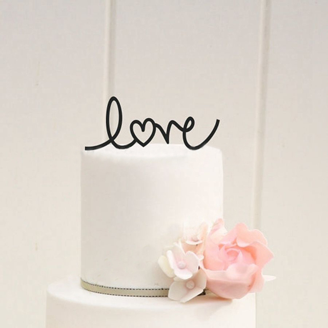 Wedding Cake Decor   LOVE With Heart Wedding Cake Topper , Acrylic  Personalized Design Wedding Party