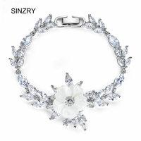 SINZRY Jewelry Accessory White Cubic Zircon Charm Bracelets Natural Shell Flower Elegant Bridal Bracelets For Women