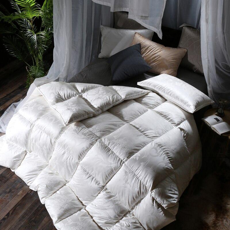 2018 Luxury European Duvet Thick Winter Comforters Silk Cotton Duck Goose Down Filler Queen King Size Stitching Quilt Blanket in Comforters Duvets from Home Garden