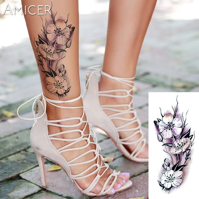Sexy Romantique Rose Fonce Fleurs Manchon De Tatouage Flash Henne