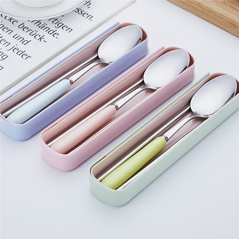 2PCS Set Stainless Steel Upscale Dinnerware Flatware Cutlery Spoon Chopsticks NEW ARRIVAL DROP SHOPPING R10