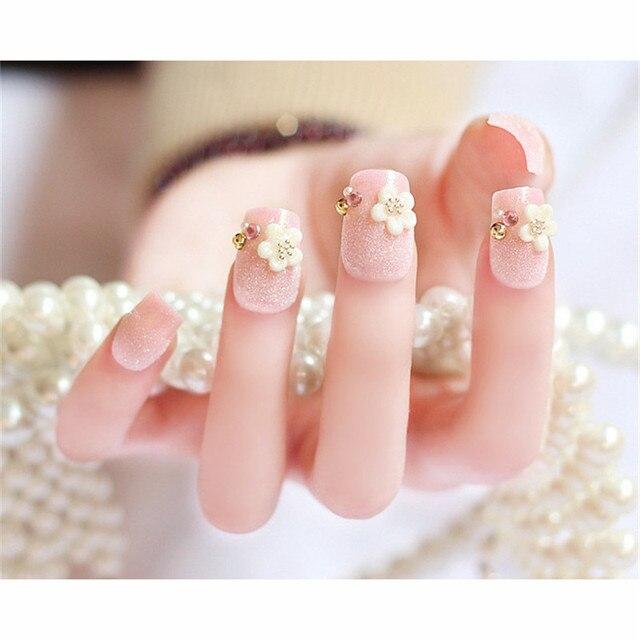 24 Pcs Cute Dream Blue Glitter False Nails Manicure Square Pink Fake ...