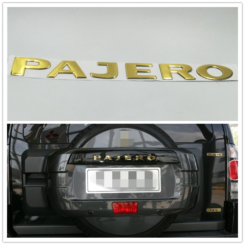 Soarhorse For MITSUBISHI PAJERO Gold 3D Letters Rear Boot Trunk Tailgate Emblem Nameplate Decals Car Accessroies