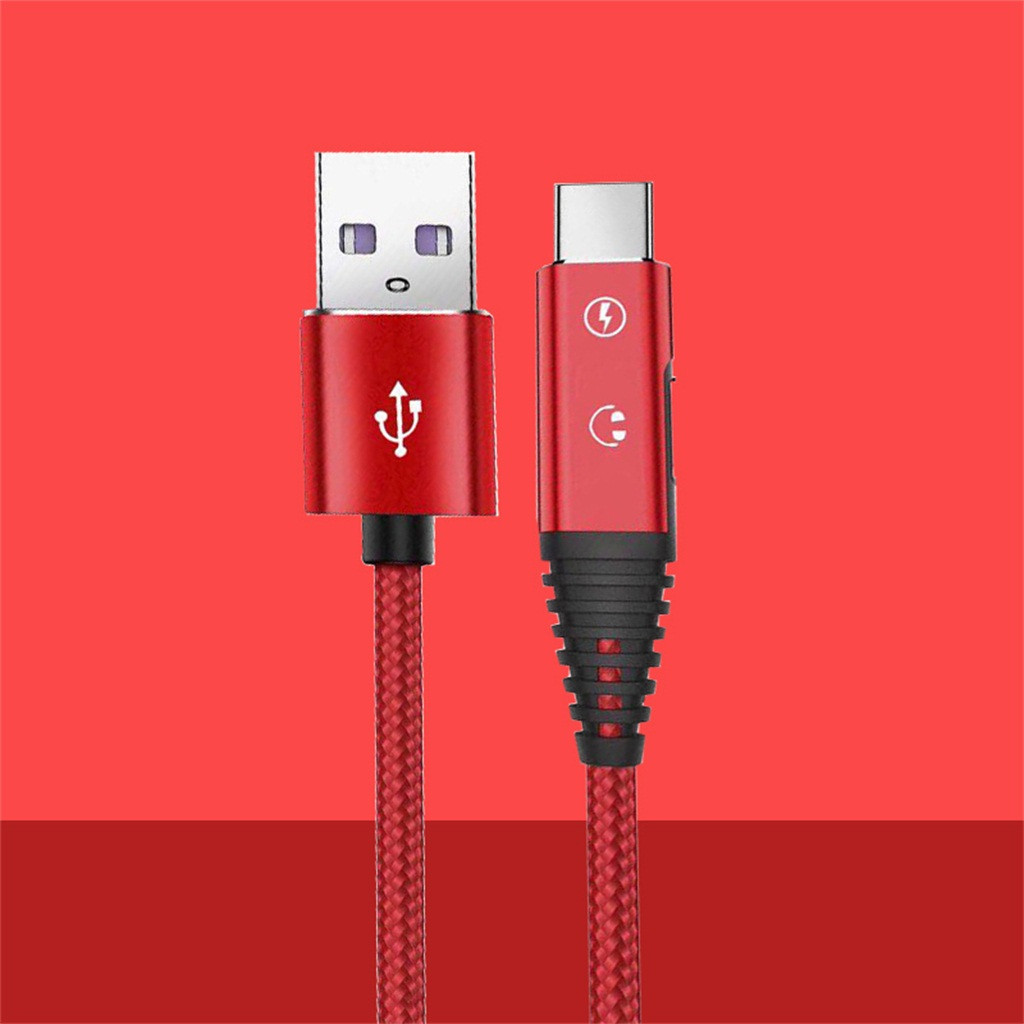 USB Type C to 3.5mm Headphone Jack Adapter 1M Braided USB C  Charging Type C Earphone Jack Adapter 2 in 1 Cable Data Line#y4(China)