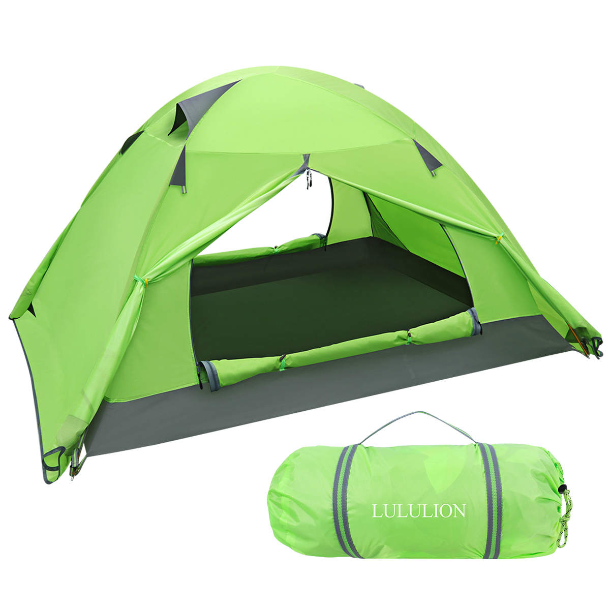 Waterproof PU Coating Backpacking Tent Two Doors Double Layer Anti UV with Aluminum Rods for Outdoor Camping Hunting