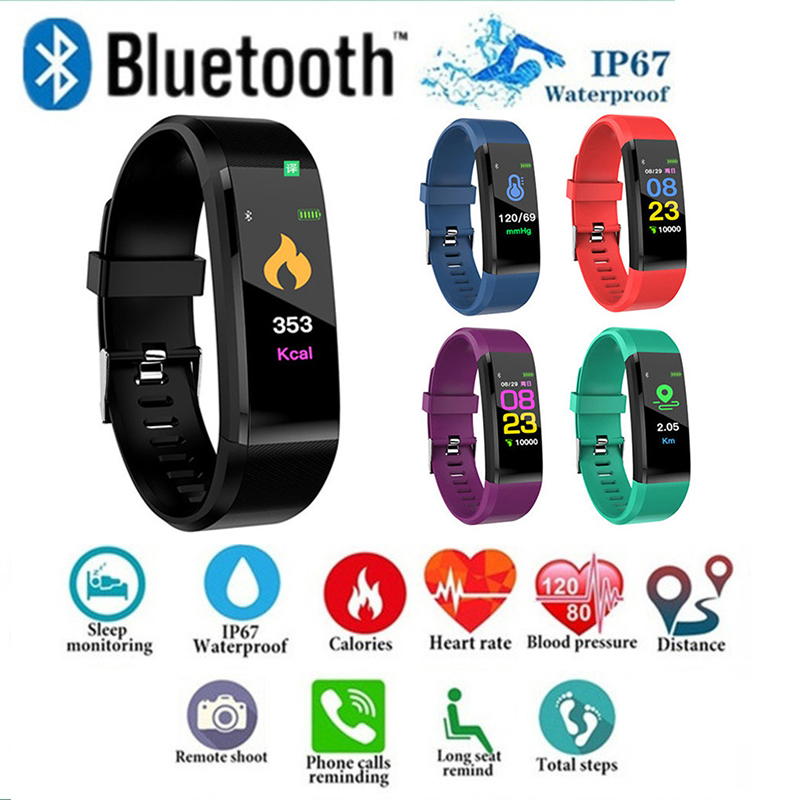 ID115 PLUS Color Screen Smart Bracelet Sports Pedometer Watch Fitness Running Walking Tracker Heart Rate Pedometer Smart Band