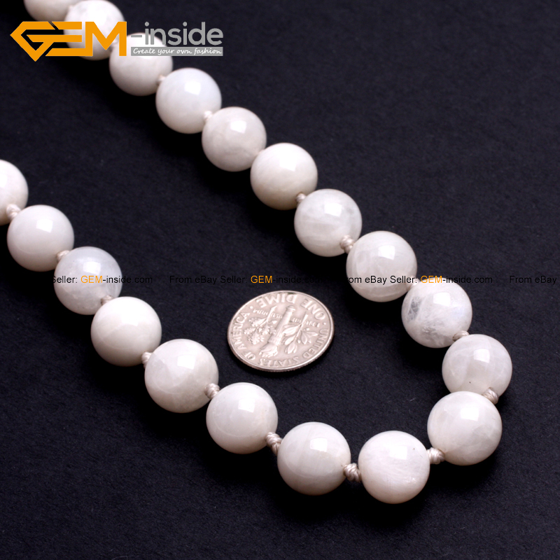 19inches Nature Moonstone Beads Necklace 6 8 10 12 14mm Fashion Jewelly FreeShipping Who ...