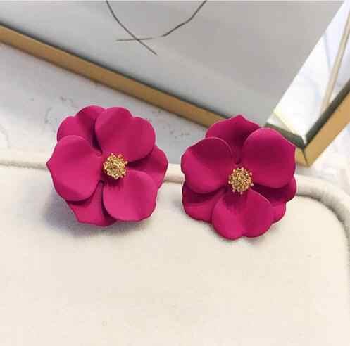 Корейский стиль Декоративный металл цветок серьги гвоздики для женщин девушка мода большой сладкий серьги Femme Brinco летние Ювелирные изделия Подарки