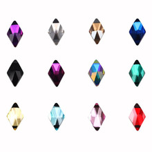 10pcs Rhombus Nail Crystals AB Rhinestones Gems Diamond Gold Bottom Flat Back Strass Stone 6*10mm 3D Charms Nails Accessories