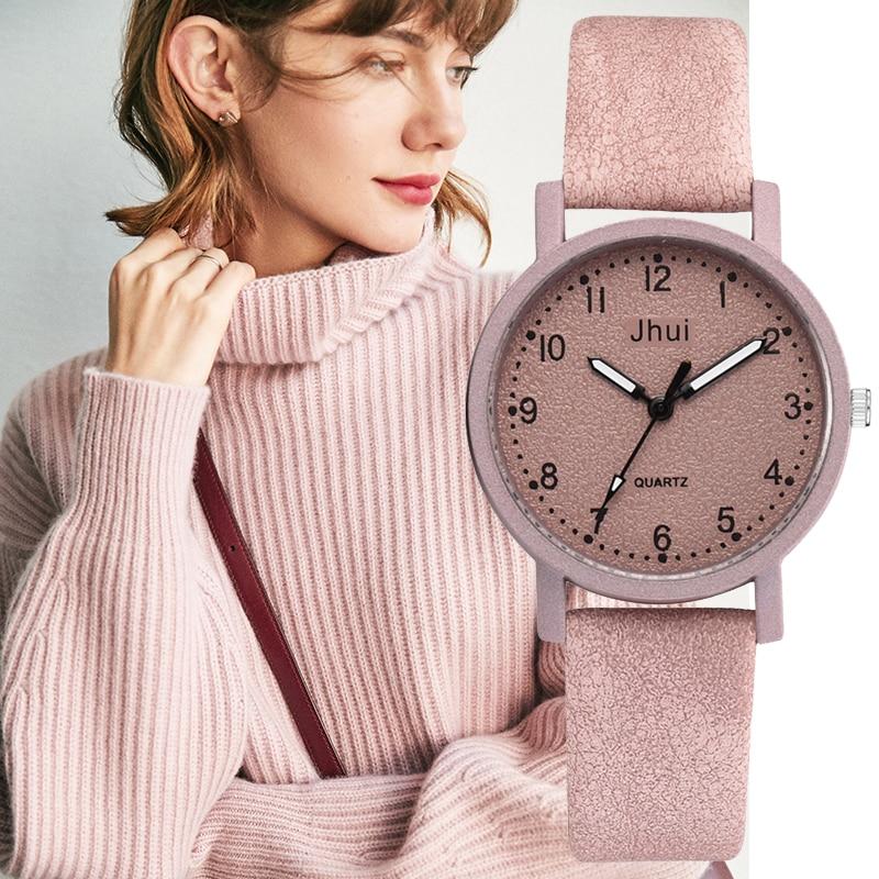 Women's Wristwatch Fashion Retro Leather Band Quartz Dress Clock Luxury Pink Sweet Popular Ladies Watch Creative Sports Watch