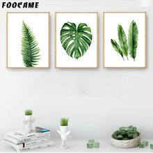 Купить с кэшбэком FOOCAME leaf Plant Monstera Watercolor Painting Nordic Posters and Prints Canvas Modern Decoration Wall Art Pictures Living Room