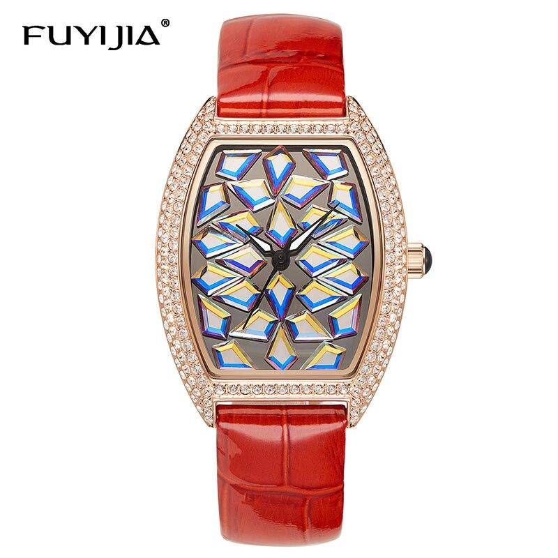 Новый винный бочонок Тип Полный алмаз часы женские Роскошные Кварцевые часы для женщин Топ бренд дамы платье часы кожа водонепроницаемый ч