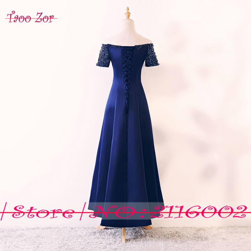 47a4871d200 TaooZor Elegant Tea Length Mother of the Bride Dresses 2018 Royal Blue  Wedding Guest Romantic Pearls Beading Evening Dress-in Mother of the Bride  Dresses ...