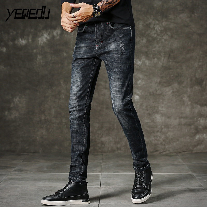 #1444 Distressed Black stretch jeans Fashion Skinny Mid-waist Slim fit jeans homme Washed Pencil jeans masculino High quality