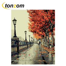 RIHE Autumn Walk Diy Painting By Numbers Street Leaves Oil Cuadros Decoracion Acrylic Paint On Canvas Modern Wall Art