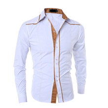 NEW 2019 Fashion spring autumn Long Sleeve striped patchwork Slim Fit gentleman young men business camisa masculina shirts