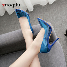 2019 Sexy high heels transparent pumps women shoes extrem high heels ladies party wedding shoes female sapato feminino 3542 size