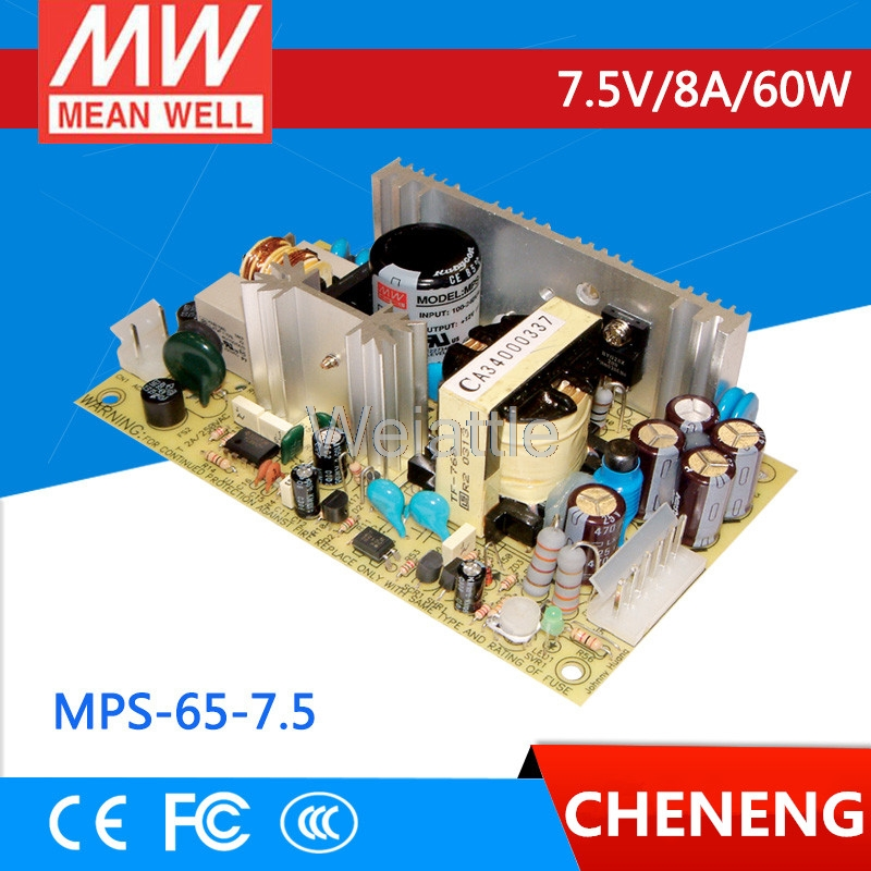 MEAN WELL original MPS-65-7.5 7.5V 8A meanwell MPS-65 7.5V 60W Single Output Medical Type advantages mean well mps 65 12 12v 5 2a meanwell mps 65 12v 62 4w single output medical type