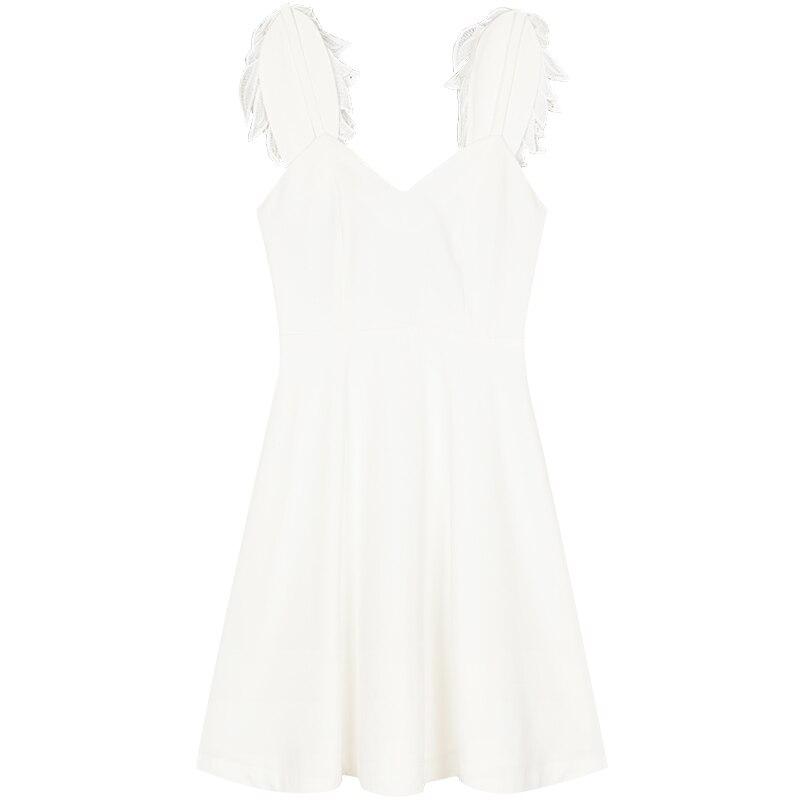 Courroie Ailes cou Empire Sexy 2019 Femmes Blanc Yigelila Nu De ligne Slim Gaine Robe A V Solide 63213 Dos Printemps Mode 5jqLcRS43A