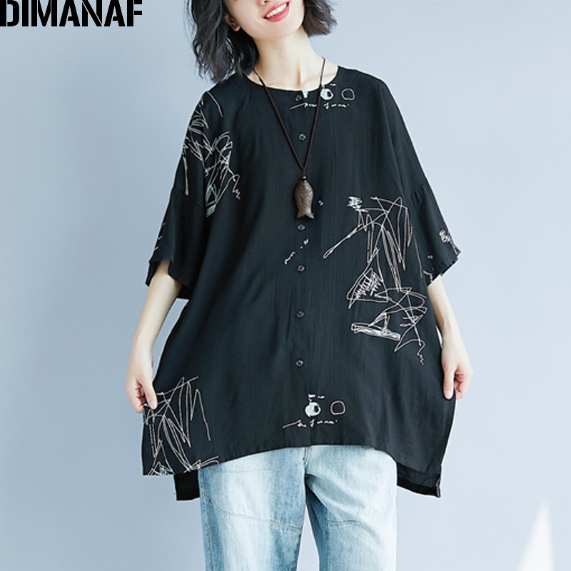 DIMANAF Women Summer   Blouse     Shirt   Plus Size Print Linen Thin Basic Tops Femme Tee Casual Large Clothing Loose Soft Cardigan 2018