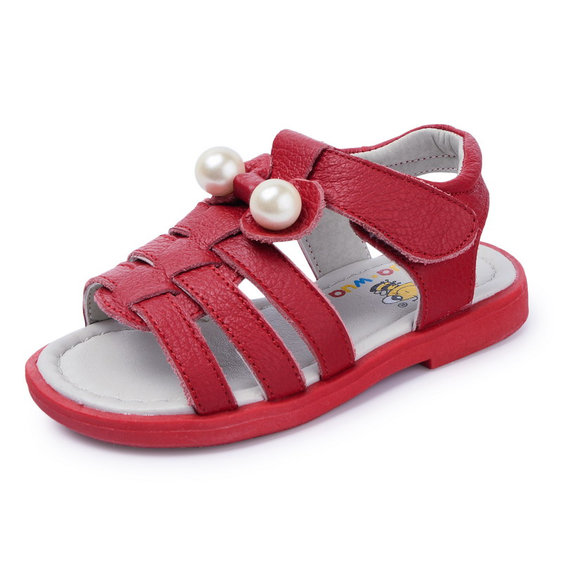Baby Girl Shoes Genuine Leather Sandals For Kids Soft Sole footwear Girl Princess Summer Sandals  Red Bottom Beach shoes very cute red flower princess soft baby shoes for girl baby shoe 3 size to choose