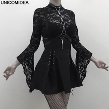 Gothic Women Lolita Dress Lace Bodysuits Vintage Punk Overalls 2PCS Suits Sets Cosplay Costume