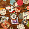 46pcs/set Mini Cute Kawaii Stickers Vintage Retro Sticky Scrapbooking Paper For Diary Decoration Adhesive Stickers Hot Sale