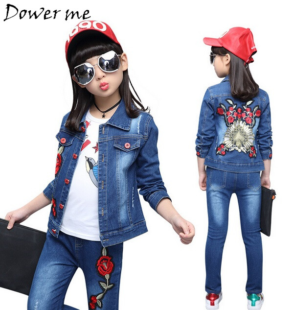 Girls Clothing Sets Autumn Girls Teenager Clothes Jeans Coat Shirt 3pcs Kids Tracksuit Children Denim Set Flowers Outfits Suits fashion autumn girl clothing sets denim outfits girls clothes sets jeans jackets shirt patchwork dress 2pcs suits with necklace