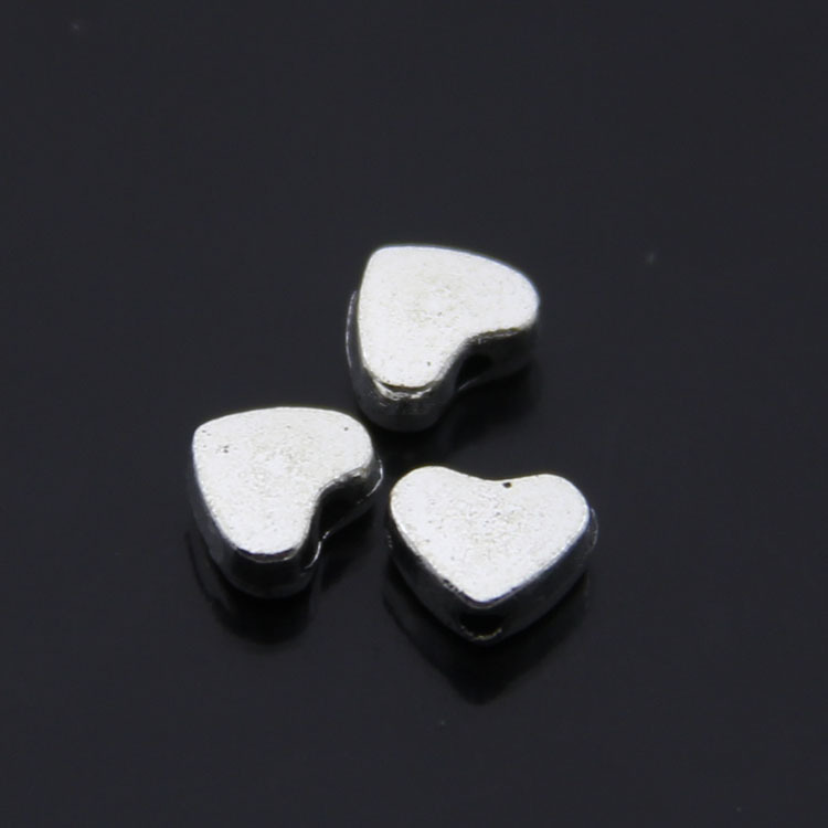 Free Shipping Jewelry components Silver alloy Heart Heart-shaped five-pointed star bead holes 150Pcs Small Hole Beads 7x5mm