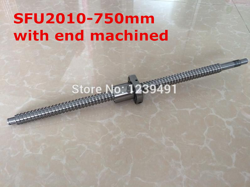 1pc SFU2010- 750mm  ball screw with nut according to  BK15/BF15 end machined CNC parts база альманах 1 2010