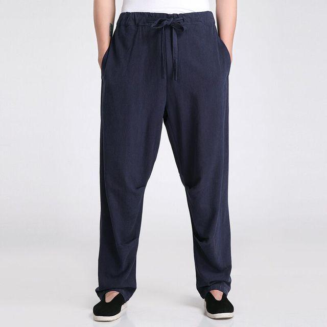 Navy Azul de Primavera y Otoño de Los Hombres Pantalones Pantalones de Estilo Tradicional Chino Tamaño S M L XL XXL XXXL 2607-4A