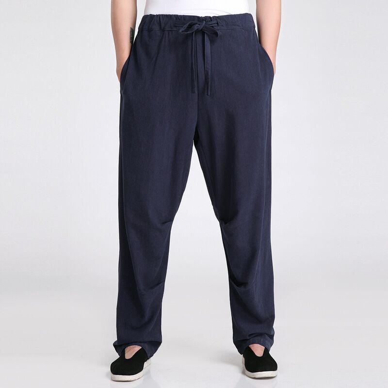 Navy Blue Spring and Autumn Men's Trousers Chinese Traditional Style Pants Size S M L XL XXL XXXL 2607-4A женские брюки s m l xl xxl xxxl kz9012 women pants