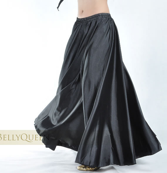 1 pcs lot new style women sexy Shining Satin Long Skirt Swing Skirt dancing lady Belly Dance Costume 14 color in Skirts from Women 39 s Clothing