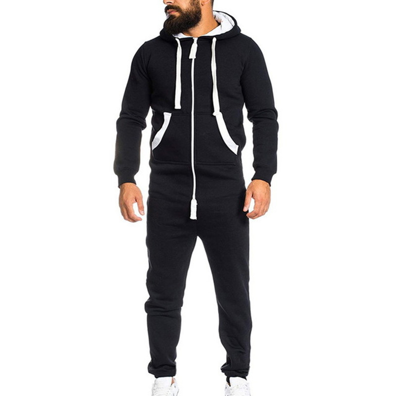 Casual men Jumpsuits Spring autumn Solid color hoodies