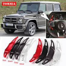 цена на tommia For Mercedes-Benz G63 2015-2016 2pcs Steering Wheel Aluminum Shift Paddle Shifter Extension Car-styling