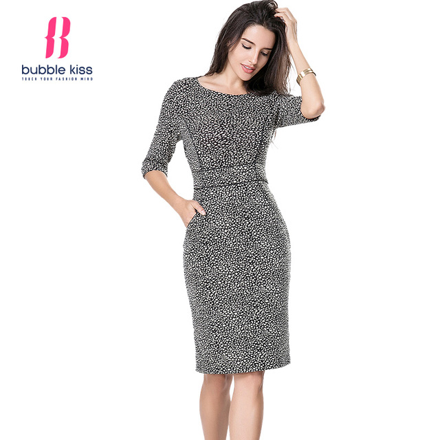 Women Bodycon Office Dress Vintage Print Half Sleeve Knee Length Pocket Sexy Pencil Dress Vestidos Boho Robe Femme Bubblekiss