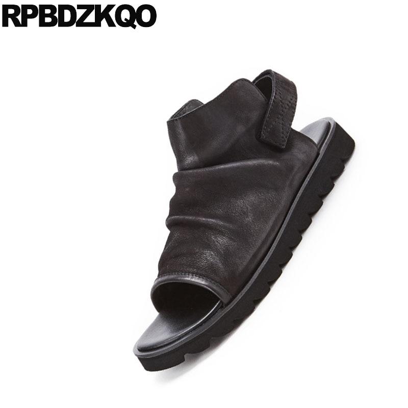 Casual Chuteiras Legítimo Alta Luxo Couro Sandálias Italiano Alça Verão Respirável Sapatos Qualidade Grife Homens De 2018 Praia Preto vwqx78qaY