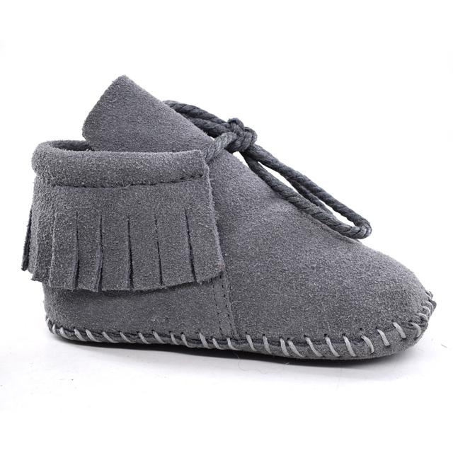 Gamuza de Cuero Bebé Niño Niña Bebé Mocasines Soft Moccs Zapatos Bebe Franja antideslizante Calzado de Suela Blanda Zapatos del Pesebre nueva