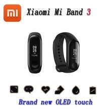 Original Xiaomi Mi Band 3 스마트 팔찌 피트니스 팔찌 MiBand Band 3 빅 터치 스크린 OLED 메시지 심박수 시간 Smartband