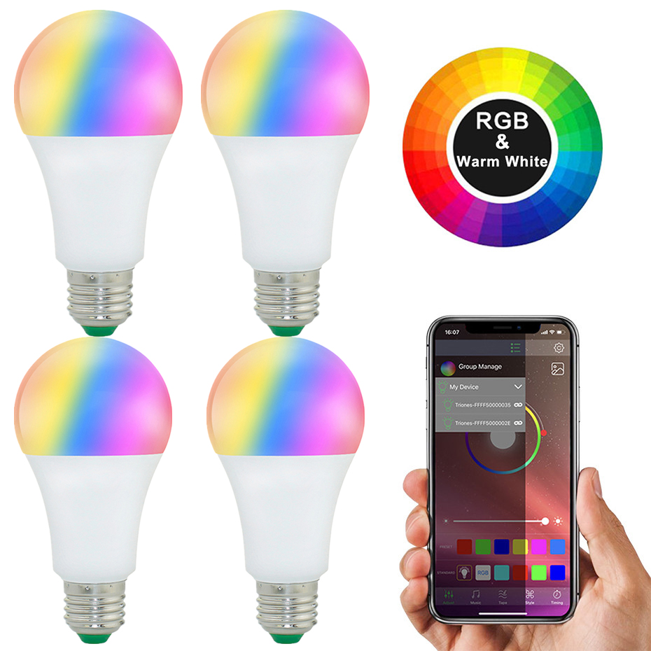 4PCS E27 LED Smart Bulb Bluetooth B22 RGB Led Lamp 20Mode 15W RGBW RGBWW Smart Light Bulbs Wireless Control Apply To IOS/Android