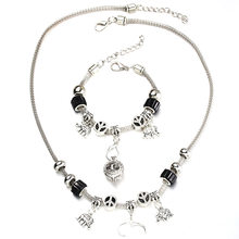 6 Colors Elephant Necklace Bracelet Set Silver Bead Hollow Chain Beaded Bracelet With Hook DIY Pendant Necklace Jewelry 053(China)