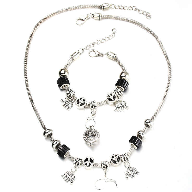6 Colors Elephant Necklace Bracelet Set Silver Bead Hollow Chain Beaded Bracelet With Hook DIY Pendant Necklace Jewelry 053